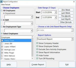 The Payroll Reports Configuration Screen