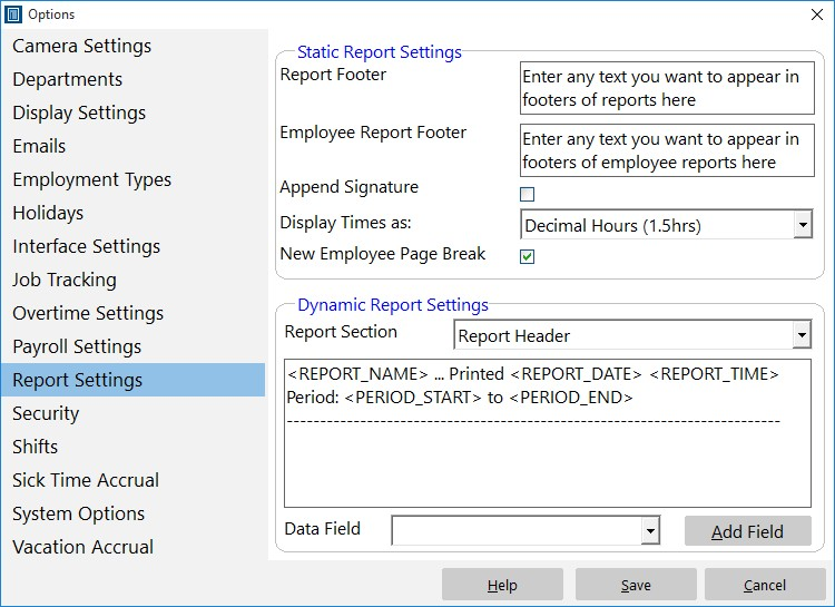 Control how reports are formatted to suit your requirements.