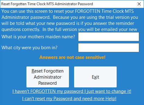 Resetting a Forgotten Password