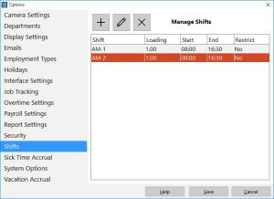 Add, edit, and delete shifts.