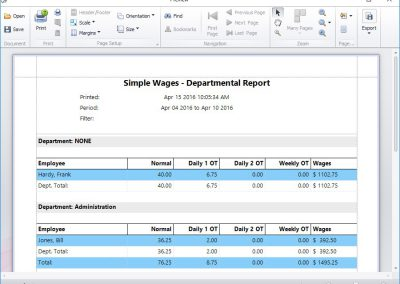 Simple Wages Departmental Report