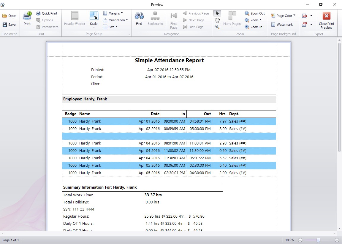 Simple Attendance Report