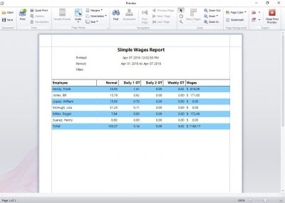 Simple Wages Report