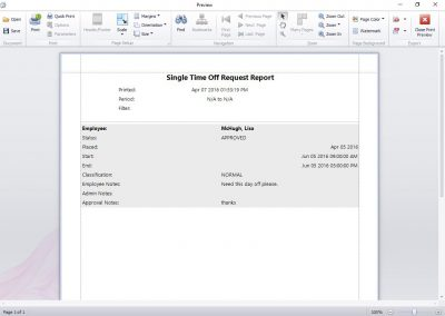 The Single Time Off Request Report