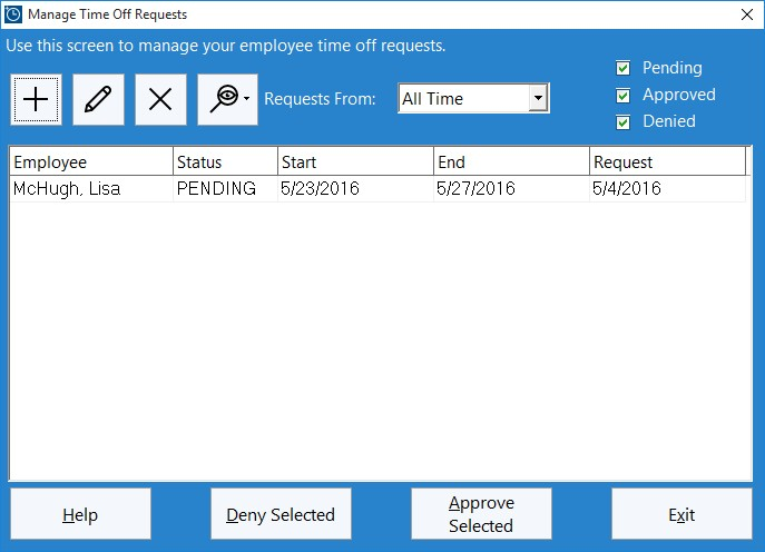 Figure 1 - The Administrator Time Off Requests Screen