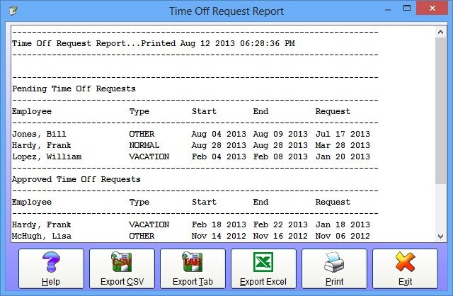 The Time Off Request Report