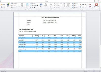 Time Breakdown Report