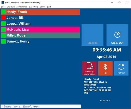 Time Clock MTS Screenshot, Time Clock Software Screenshot