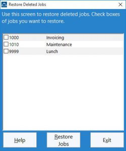 The administrator can use this screen to restore deleted jobs.