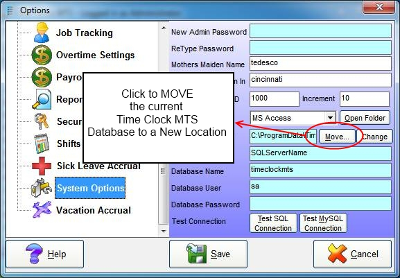 System Options Screen - Moving the Existing Database