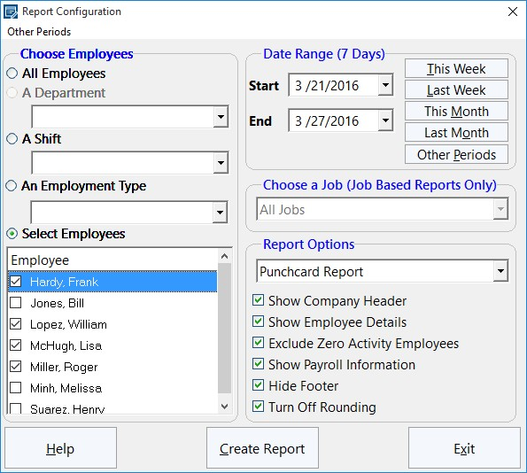 Report Configuration Screen