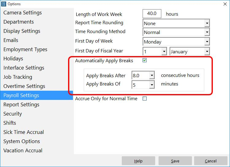 Payroll Settings with Automatic Breaks Enabled